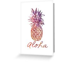 Aloha watercolor and chalk pastel Pineapple Greeting Card
