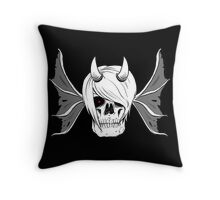 Skull Horns and Wings Throw Pillow