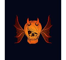 Skull Horns and Wings ( FIRE version ) Photographic Print