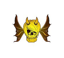 Skull Horns and Wings ( GOLD version ) Photographic Print