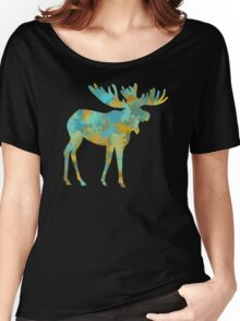 Moose Watercolor Art Women's Relaxed Fit T-Shirt