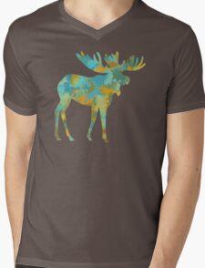 Moose Watercolor Art Mens V-Neck T-Shirt