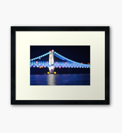 Colorful Blue Bokeh Bridge Framed Print