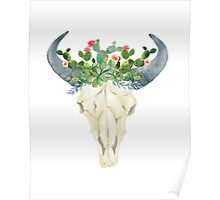 Bull skull with cacti crown - hand painted watercolor Poster