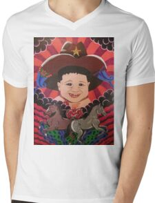 Psychedelic Space Cowbaby Mens V-Neck T-Shirt