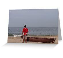 The Boat, The Fisherman And The Ocean - El Barco, El Pescadero Y El Oceano Greeting Card