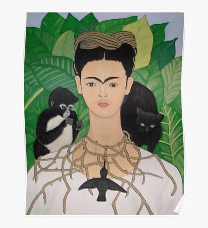 Frida with Monkey and Cat Poster