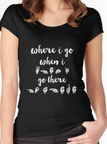 Where I Go, When I Go There (black, requested) Women's Fitted Scoop T-Shirt