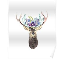 Deer with flower crown Poster