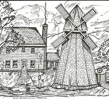 Old Windmill New England Home by charlesadams