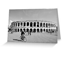 Cycling by the Arena Greeting Card