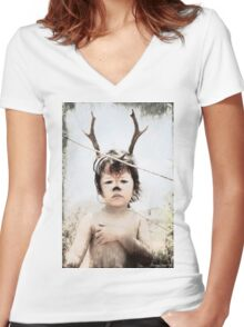 Forrest the fawn Women's Fitted V-Neck T-Shirt