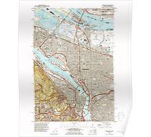 USGS Topo Map Oregon OR Portland 281137 1990 24000 Poster