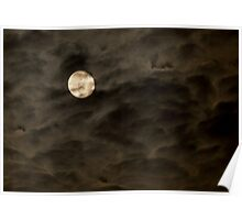Cloudy moon Poster