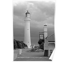 Split Point Lighthouse, Aireys Inlet, grayscale version Poster