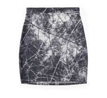 Black and White Crackle Grunge Texture Mini Skirt