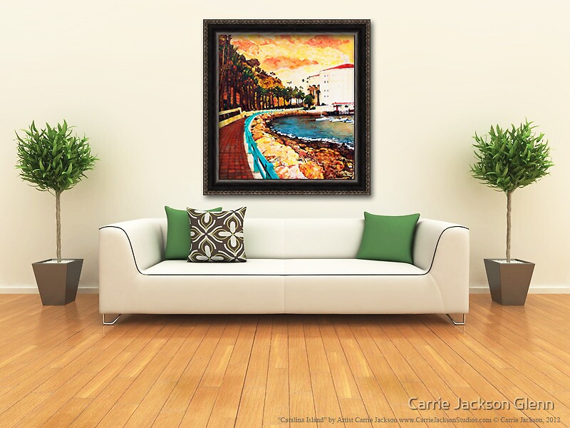 """Painting """"Catalina Island"""" Displayed In Setting by Carrie Jackson"""