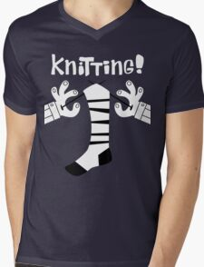 Knitting!  Mens V-Neck T-Shirt