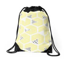 Honeycomb scratches - soft yellow Drawstring Bag