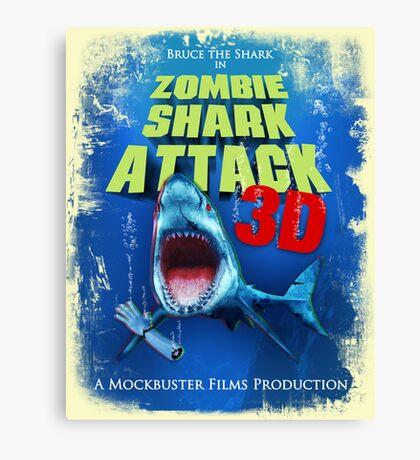 Zombie Shark Attack Canvas Print