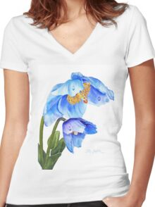 Twin Blue Poppies Women's Fitted V-Neck T-Shirt
