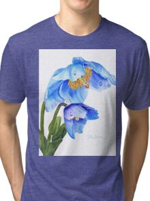 Twin Blue Poppies Tri-blend T-Shirt