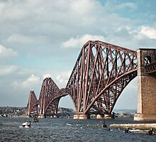 Looking north to bridge as we approach south Queensferry 195709080008  by Fred Mitchell