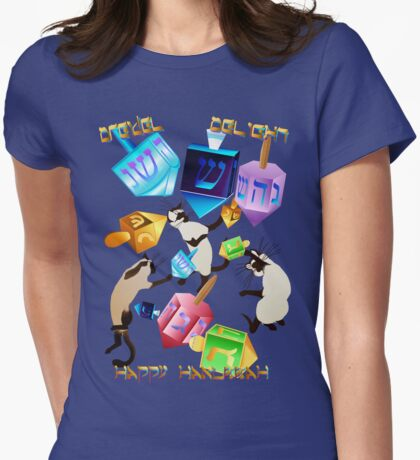Delightful Dreidels-lettered Womens Fitted T-Shirt