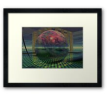 Relativity of a sphere // Atomization Framed Print