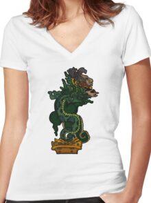 Mayan Serpent God Women's Fitted V-Neck T-Shirt
