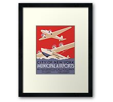 New York Municipal Airports Travel Poster (PD) Framed Print