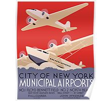 New York Municipal Airports Travel Poster (PD) Poster