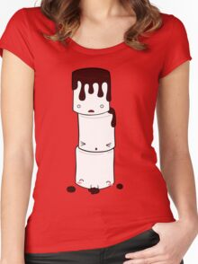 Cute Marshmallow Tower Women's Fitted Scoop T-Shirt