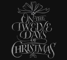Chalkboard Hand Lettering '12 Days of Christmas' Elegant Trendy Chalk Art Baby Tee