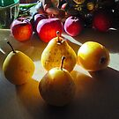 the glory of sunlit pears . . . . by evon ski