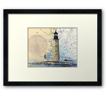 Graves Lighthouse MA Nautical Chart Cathy Peek Framed Print