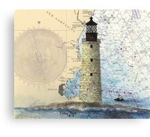 Graves Lighthouse MA Nautical Chart Cathy Peek Canvas Print