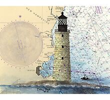 Graves Lighthouse MA Nautical Chart Cathy Peek Photographic Print
