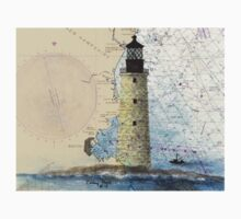 Graves Lighthouse MA Nautical Chart Cathy Peek Kids Tee