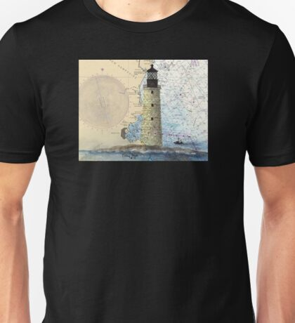 Graves Lighthouse MA Nautical Chart Cathy Peek Unisex T-Shirt