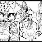 Pow wow people coloring page by mylittlenative