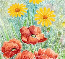 POPPIES AND YELLOW DAISIES - AQUAREL by RainbowArt