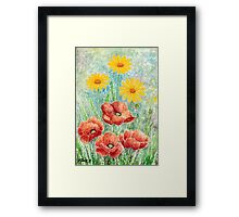 POPPIES AND YELLOW DAISIES - AQUAREL Framed Print