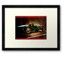 Time machine. Vintage Bugatti race car Framed Print
