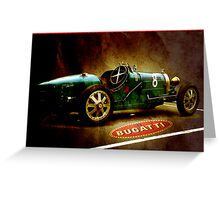 Time machine. Vintage Bugatti race car Greeting Card