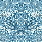 Rain in the Garden - blue and cream by micklyn