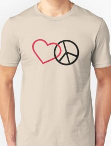 Red heart peace T-Shirt