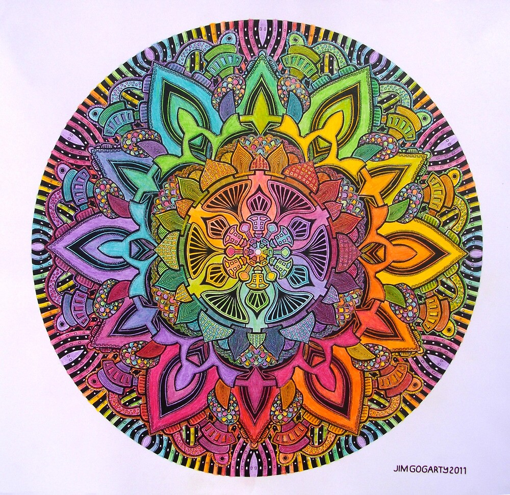 Mandala 10 drawing rainbow 1 Prints, Cards & Posters by mandala-jim