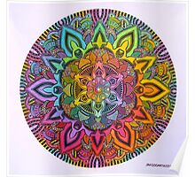 Mandala 10 drawing rainbow 1 Prints, Cards & Posters Poster