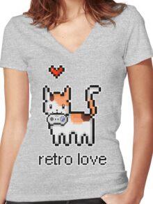 8 bit retro kitty Women's Fitted V-Neck T-Shirt
